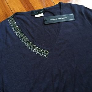 NWT Bruno Manetti Silk Embroided Sweater